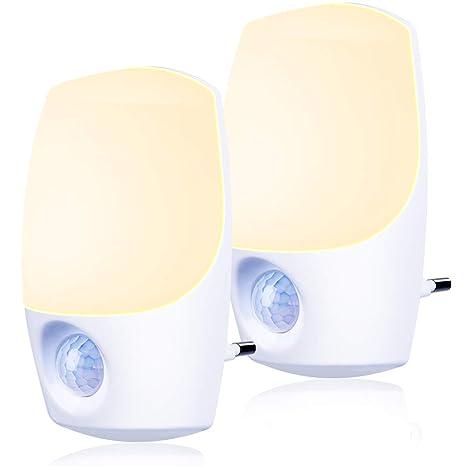 Nachtlicht Steckdose mit Bewegungsmelder und Dämmerungssensor,Emotionlite 2 Stück LED Nachtlicht kind Sehr gut für Kinderzimm