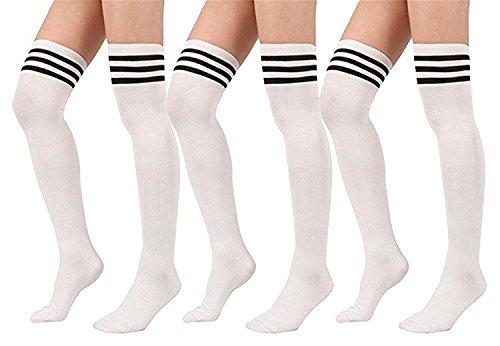 Fever Socks - Spring fever Women's Stripe Tube Dresses Over the Knee High Socks Thigh High Stockings Cosplay Socks  L3Pair-White, OS:XS-M