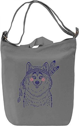 Indian wolf Borsa Giornaliera Canvas Canvas Day Bag| 100% Premium Cotton Canvas| DTG Printing|