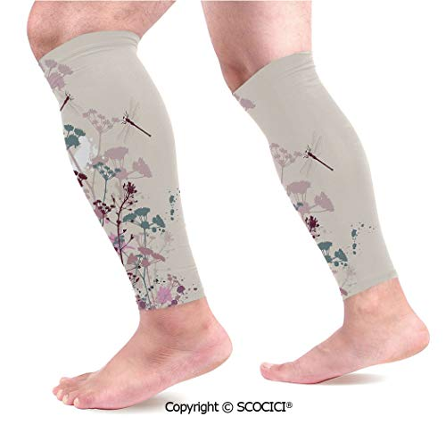 Petal Dragonfly - Flexible Breathable Comfortable Leg Skin Protector Sleeve Plants and Petals with Dragonfly Soft Color Design with Grunge Effects Vintage Style Calf Compression Sleeve
