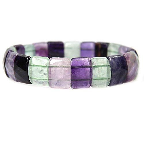 Genuine Precious Stone (Amandastone Natural Rainbow Fluorite Genuine Semi Precious Gemstone 15mm Square Grain Faceted Beaded Stretchable Bracelet 7