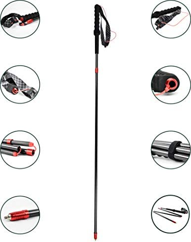 AceCamp World s Lightest Trail Running Pole, Carbon Fiber Ultra Lightweight Trekking Pole, Collapsible Foldable, Durable, Walking, Backpacking Hiking Sticks with Carry Bag