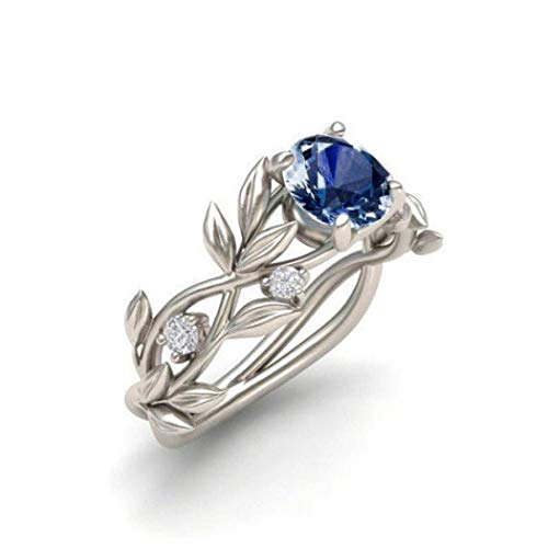 Antique Jewelry Solid Sterling Silver Feather Ring Stacking Rings Bride WeddingLaimeng (8, Dark Blue)