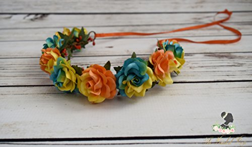 Handcrafted Retro Orange Yellow Green and Blue Flower Crown - Woodland Halo - Adult Flower Crown - Rose Accessory - Summer Flower Crown