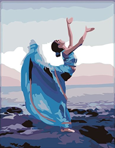 CaptainCrafts New Paint by Number Kits - Seaside Dance 16x20 inch Frameless - Diy Painting by Numbers for Adults Beginner Kids