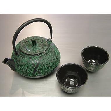 Happy Sales HSCT-BMG04, Cast Iron Tea Pot Tea Set Bamboo Green