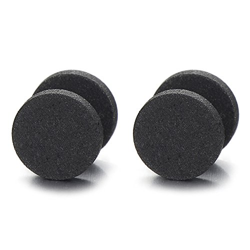 Men Women 6MM Black Sand Matt Screw Stud Earrings, Cheater Fake Plugs Gauges Illusion Tunnel