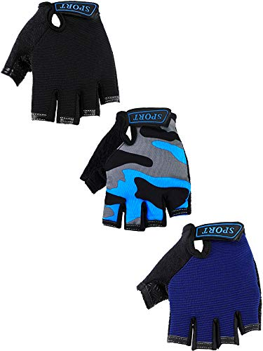 3 Pairs Kids Half Finger Gloves Sport Gloves Non-Slip Gel Gloves for Children Cycling Riding Biking (Blue, Grey Camouflage, Black, 6-10 Years Size)