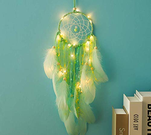 Magnoloran Handmade Exquisite Feather Beaded Dream Catcher Wall Hanging Net for Car Kids Bed Room Wall Hanging Decoration Decor Ornament Craft 21 Inches Green Dream Catchers