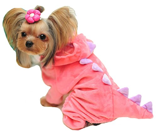 - MaruPet Autumn/Winter Overall Dinosaur Custome Fleece Warm Four-Leg Jumpsuit Cosplay Outfit Custome for Teddy, Pug, Chihuahua, Shih Tzu, Yorkshire Terriers, Papillon Pink XS