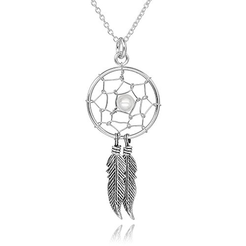 925 Sterling Silver Dream Catcher Pendant Necklace, 18""
