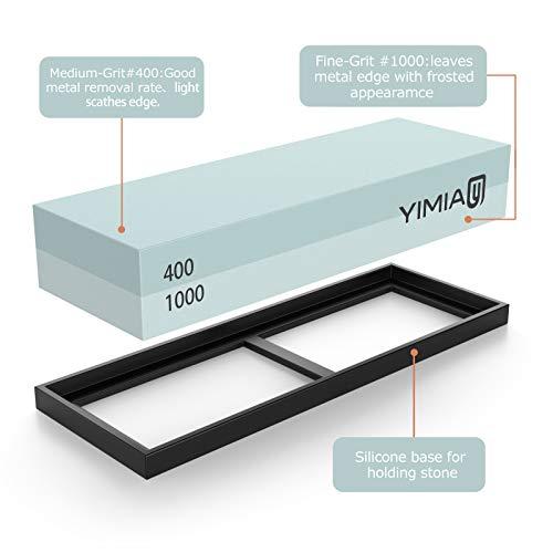 Sharpening Stone Kit, YIMIA 4 Side Grit 400/1000 3000/8000 Whetstone, Knife Sharpener Waterstone with Non-Slip Bamboo Base & Flattening Stone & Angle Guide by YIMIA (Image #3)