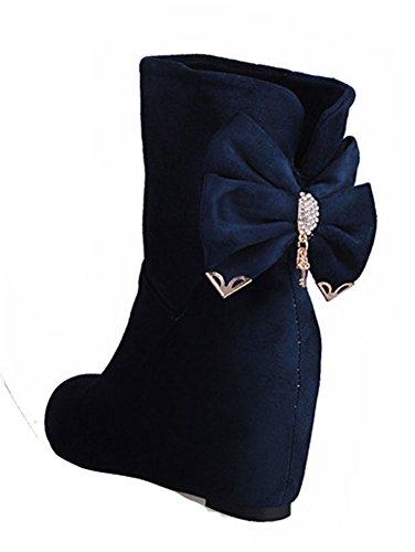Scarpe Da Donna Con Zeppa In Pelle Scamosciata Tinta Unita Con Punta Arrotondata Blu Scuro