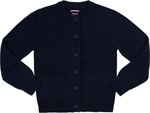 Cardigan Sweater School Uniform (French Toast School Uniform Girls Anti-Pill Crew Neck Cardigan Sweater, Navy, X-Large (14/16))