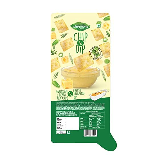 Wingreens Farms Chip & Dip - Parmesan & Herbs Pita Chips with Cheesy Jalapeno Dip (Pack of 1)