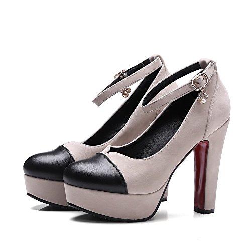 Odomolor Women's Microfiber Buckle Round-Toe High-Heels Court Shoes Apricot UcalZ