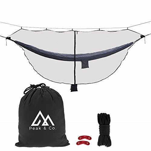 Hammock Bug Net - Peak & Co. Hammock Bug & Mosquito NET 11.5' x 4.6'. Fits All Camping Hammocks. Compact. Lightweight. Fast Easy Setup. Protection from Bugs and Mosquitoes. Water Resistant Bag & Guyline Adjusters