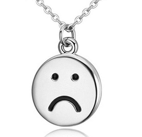 Lovely Land Emoji Pasta Lovely Face Pendant Necklace (Sad(white))