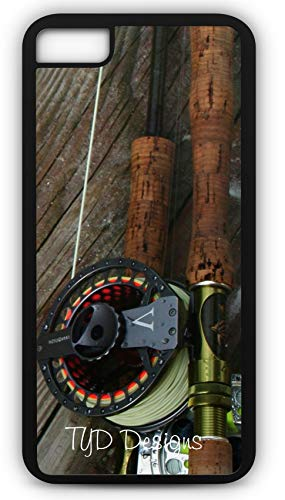 iPhone 8 Plus 8+ Case Fly Fishing Rod Reel Pole Trout Stream Creek Waders Hip Boots Customizable by TYD Designs in Black Rubber - Green Wine Design