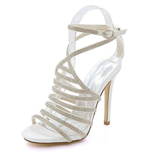 L@YC Women's Peep High Heel 7216-04A Wedding Sandals Rhinestones Summer Party Bridesmaid Ivory