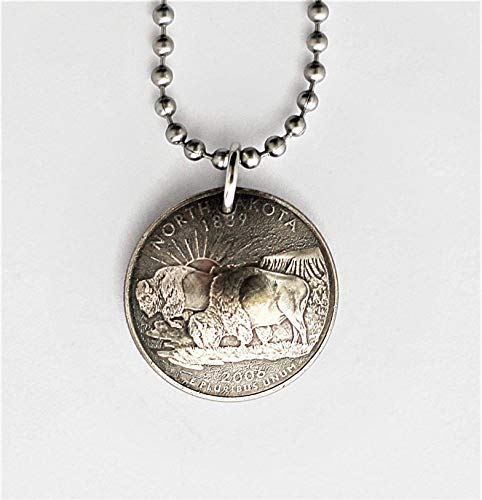North Dakota U.S. State Quarter Necklace Domed Coin Pendant Frosted Texture 2006 Buffalo Bison