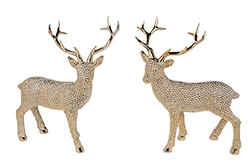 (Transpac Set of 2 Resin Shiny Gold Large Standing Reindeer)