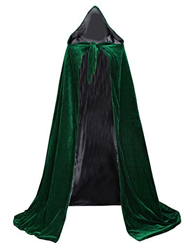 LuckyMjmy Velvet Renaissance Medieval Cloak Cape lined with Satin (Small, Dark Green-Black)]()