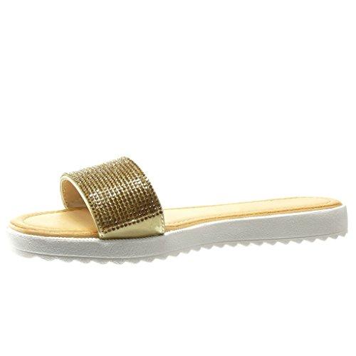 Angkorly - damen Schuhe Sandalen - Strass flache Ferse 2 CM - Gold ...