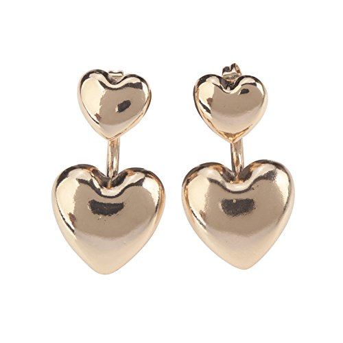 (Pair of Delightful Earrings / Ear Studs In Double Hearts Shapes And Golden Colour By VAGA®)