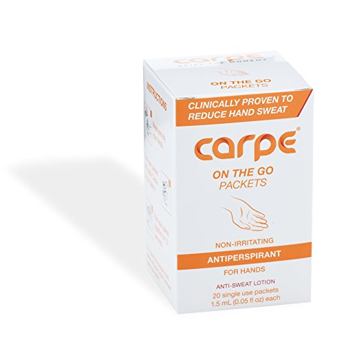 Carpe Antiperspirant Hand Lotion, 20 Single-Use Packets, Great for On the Go, Meetings, Dates, Interviews, Immediate Relief and Dermatologist-Recommended
