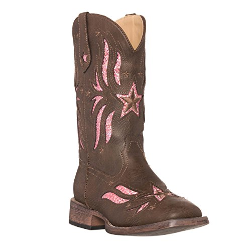 Children Western Kids Cowboy Boot,Brown,8 M US Toddler