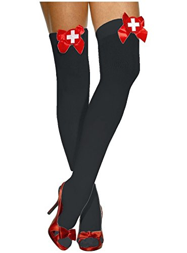 [Black with Red Bow and White Cross Nurse Thigh High Stockings Halloween Costume Accessories] (Naughty Nurse Halloween)