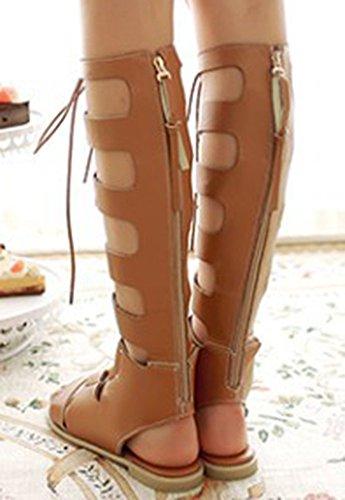 Sandals Knee Gladiator Brown Shoes IDIFU Women Utw65q7xnS