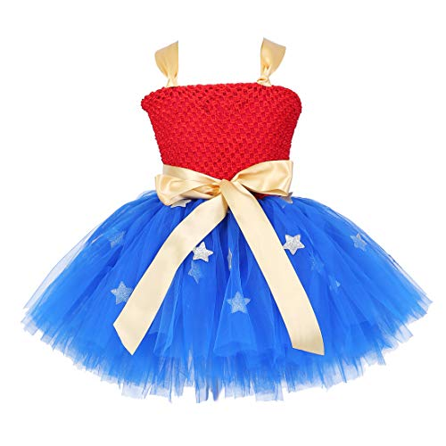 Tutu Dreams Handmade Superhero Tutu Dress For Girls Birthday Party Costume (X-Large(7-8years), Blue)]()