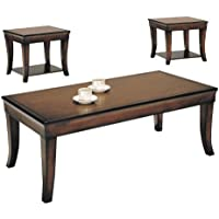 Acme 07825 3-Piece Branford Coffee/End Table Set, Cherry Finish