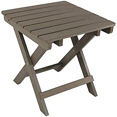Sunnydaze All-Weather Folding Patio Side Table, Faux Wood Design, Gray - FOLDING PORTABLE SIZE: 19.5 inches wide x 19.5 inches deep x 19.75 inches tall; Weighs 10 pounds; Weight capacity: 50 pounds LOW-MAINTENANCE CONSTRUCTION: High-density polyethylene is waterproof and weather-resistant so it doesn't require sealing or staining INCLUDES HARDWARE: Single table comes with heavy-duty stainless steel hardware for assembly - patio-tables, patio-furniture, patio - 41N3KFl 2cL. SS400  -