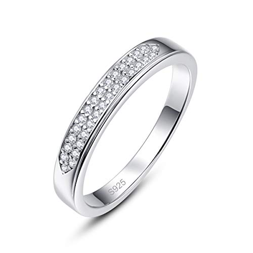 PAKULA 925 Sterling Silver Women Cubic Zirconia Half Eternity Wedding Band CZ Stacing Ring Size 7