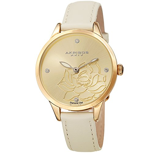 Akribos XXIV Women's Diamond Accented Flower Engraved Dial Gold & Creme Leather Strap Watch - Packed in a Beautiful Gift Box, Perfect for Mothers Day - AK1047WT
