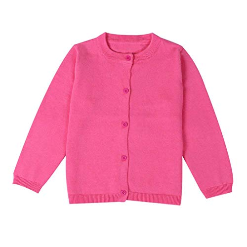 (Dutebare Baby Girls Long Sleeve Cardigans Toddler Crewneck Button Uniform Cardigan Sweaters Rose 4)
