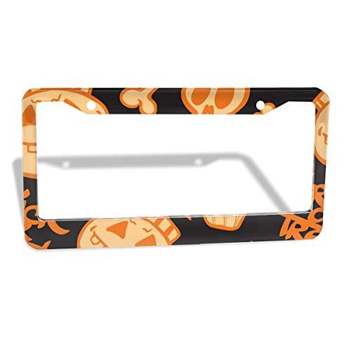 VOIDPF Custom License Plate Frame Halloween Pumpkin Skull Aluminum Metal Auto Car Tag Frame