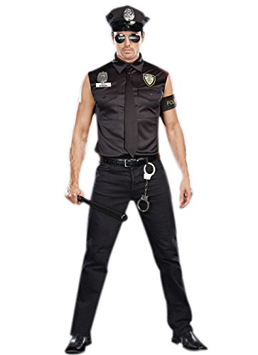 Halloween Sexy Men's policeman cosplay shirt Cop Officer Ed Banger costume (Officer Ed Banger Costume)