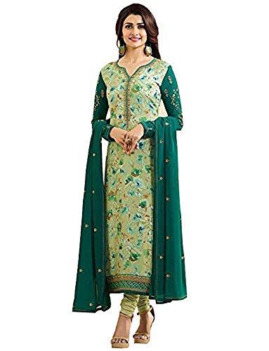 (Laxminarayan Ready Made Georgette Printed & Embroidered India Pakistan Churidar Straight Salwar Suit (Green, 0X Plus (48)))