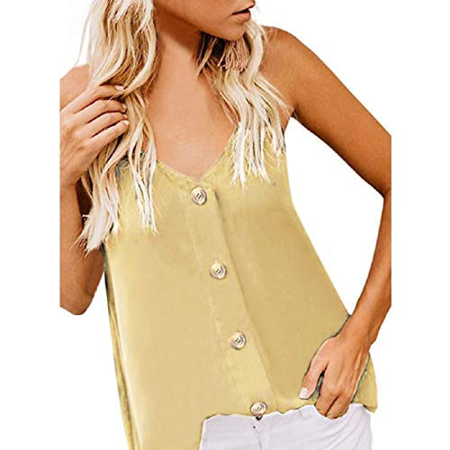 Women's sleeveless Tank Tops Fzitimx Summer New V-neck button sleeveless camisole sexy casual vest large size bare back shirt Tank Tops