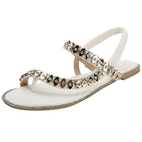 Alexis Leroy Flat Heel Rhinestone Flip Flop Elastic Women Thong Sandals White Rm9FqWqV