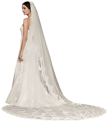 Cathedral Veil with Sequined Lace Appliques Style WPD20244, Ivory by David's Bridal