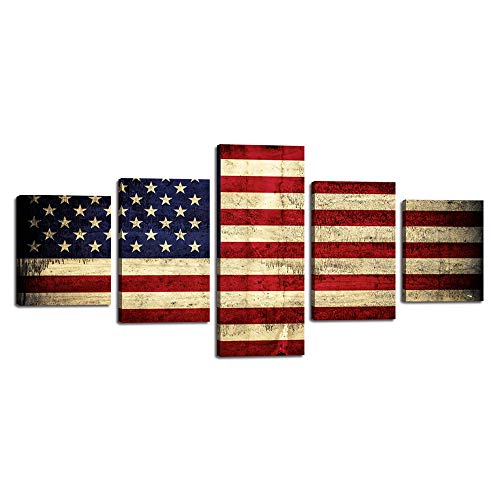 Rustic American Flag Canvas Red White Wall Art Patriotic Concept USA Flag Painting 13 stripes and 50 stars 5 Panels Artwork Print Giclee for Living Room Home Decor Stretched Framed(50''W x 24''H)