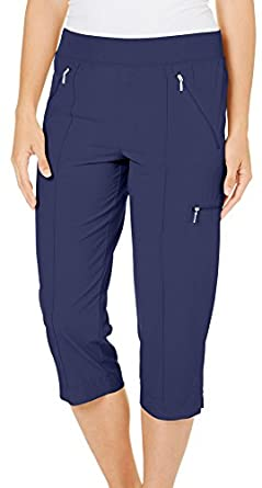 Coral Bay Golf Womens Woven Knit Waist Capris at Amazon