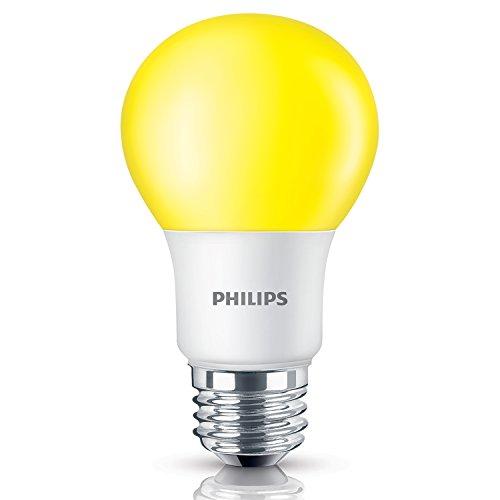 Bulb Repellent Light Bug Yellow (Philips 60 Watt Equivalent Yellow A19 Medium Base LED 8 Watt Equivalent Light Bulb for Insect Repellant)