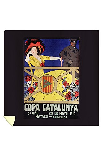 Copa Catalunya Vintage Poster (artist: Pitomanya) Spain c. 1909 (88x88 Queen Microfiber Duvet Cover) by Lantern Press