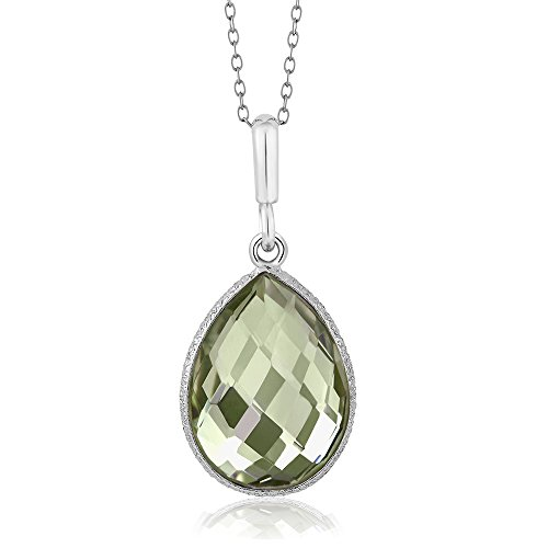 (Gem Stone King 925 Sterling Silver Genuine Green Amethyst Pendant Necklace, 16X12MM Pear Shape, 6.50 Ct with 18 Inch Silver Chain)